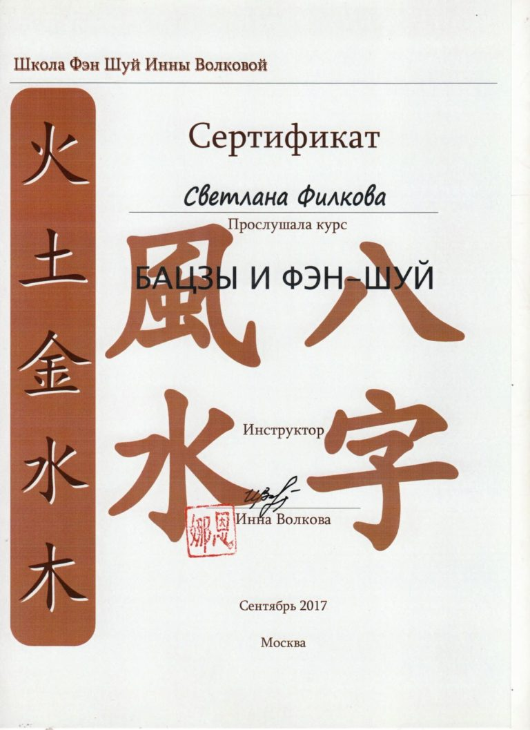 Скан - Сертификат Ба Цзы