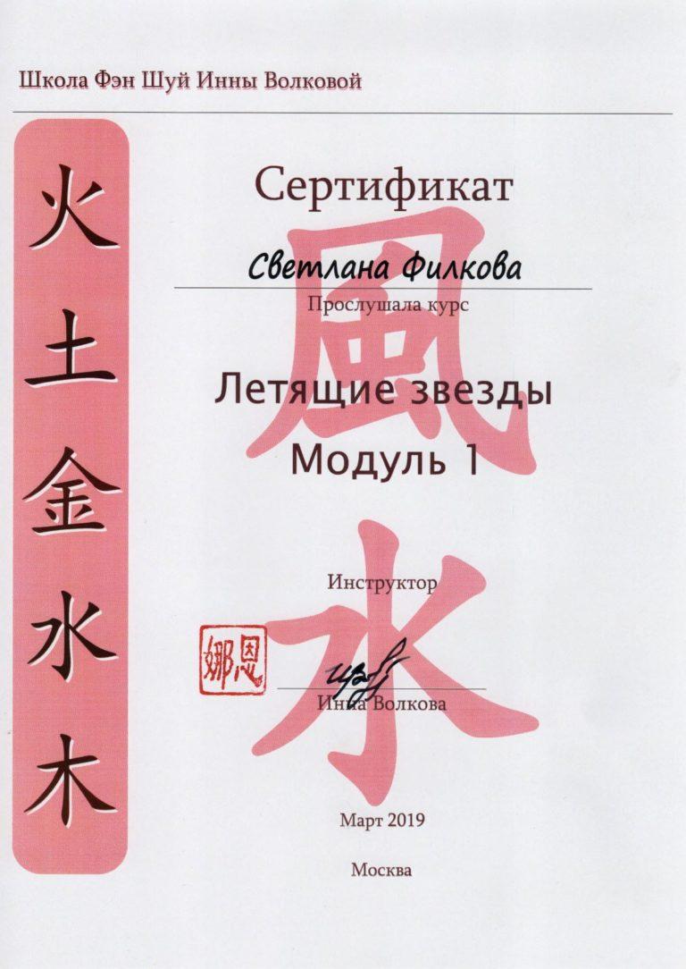 Сертификат - Летящие Звезды - Модуль 1