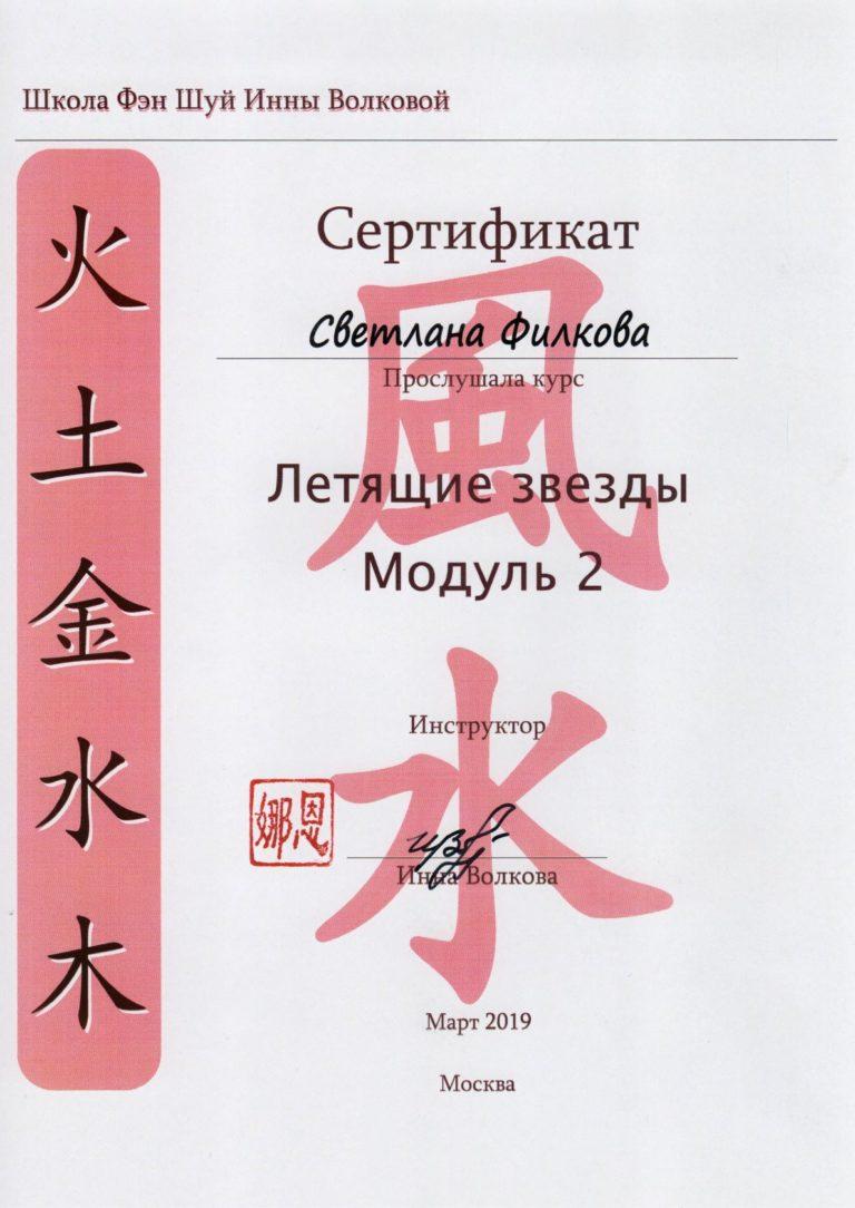 Сертификат - Летящин Звезды - Модкль 2